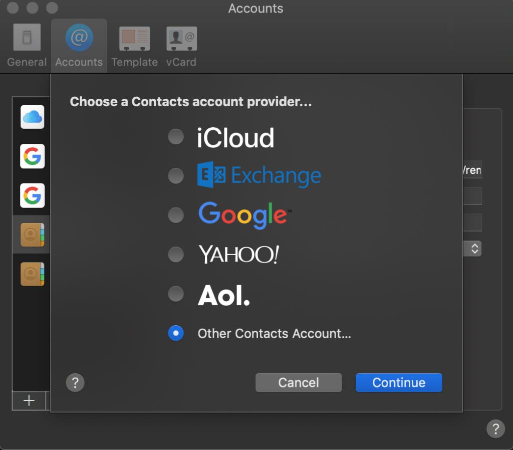 Contacts account su Mac