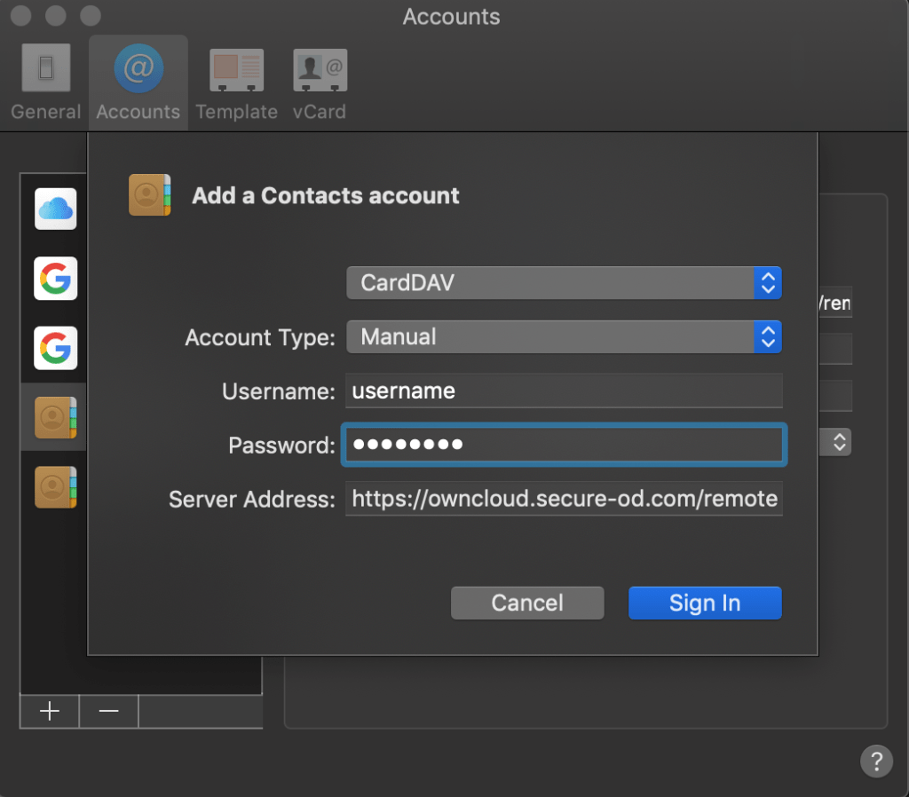 Contacts account settings su mac